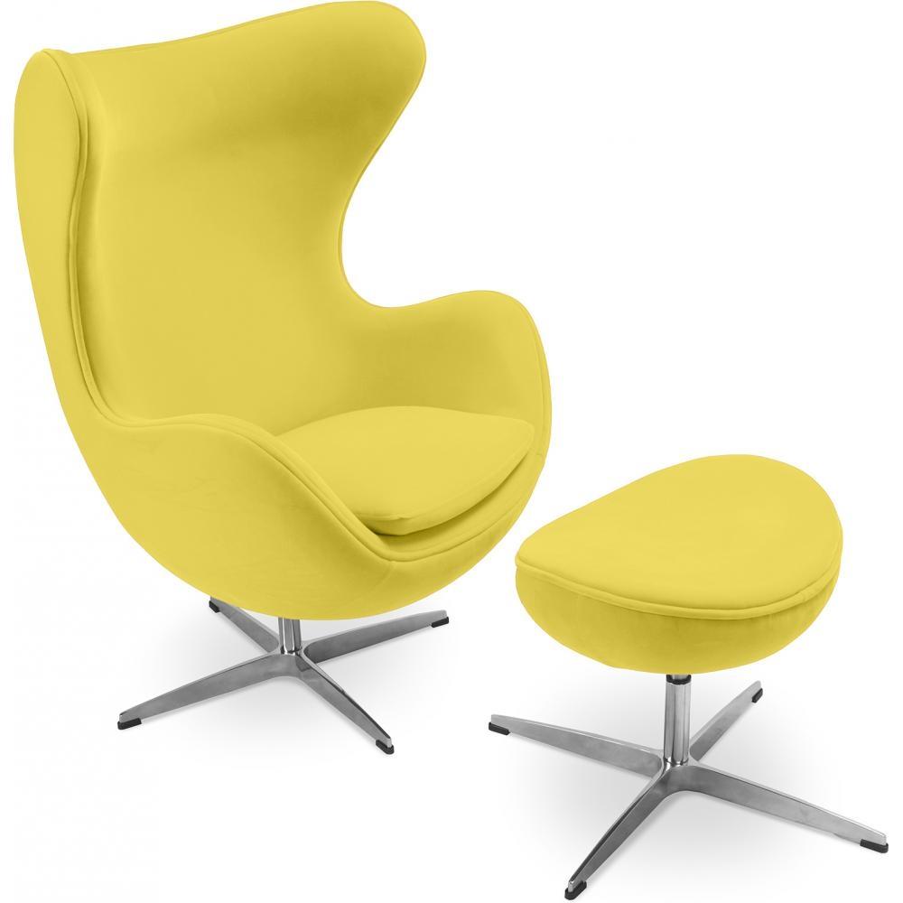 fauteuil avec repose pieds tissu jaune ego. Black Bedroom Furniture Sets. Home Design Ideas