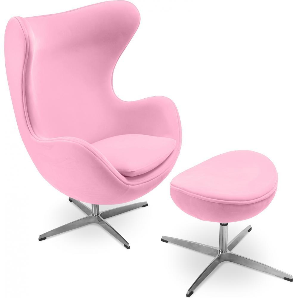 fauteuil avec repose pieds tissu rose ego. Black Bedroom Furniture Sets. Home Design Ideas