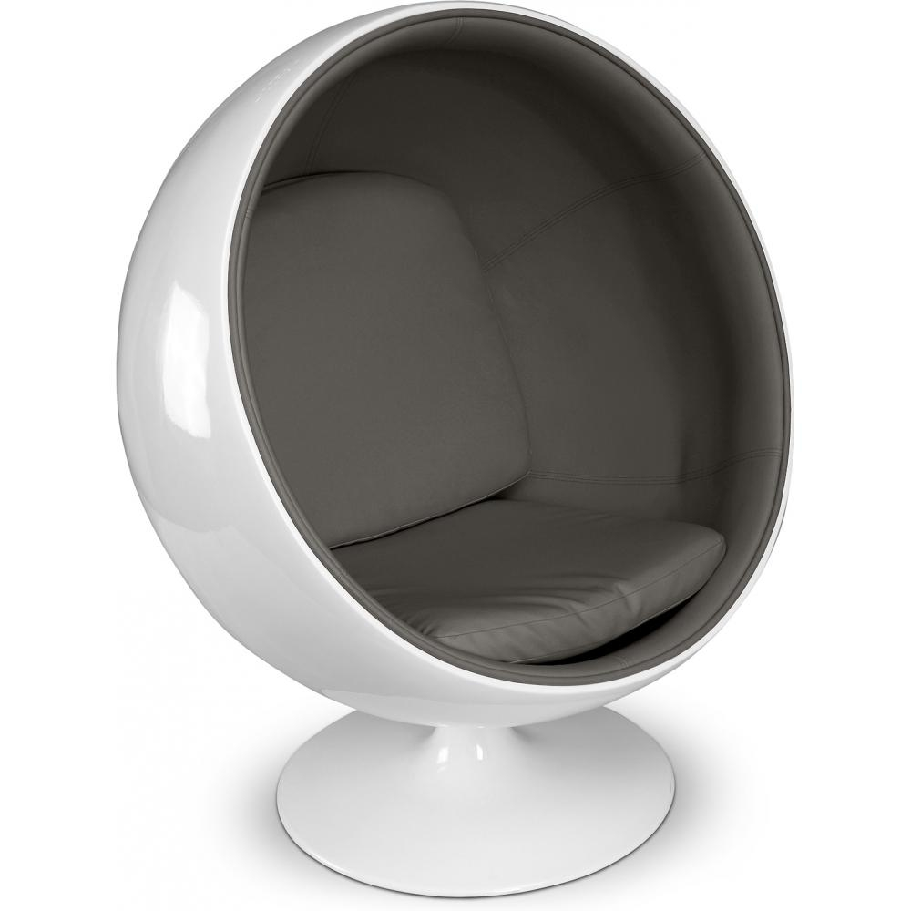 Fauteuil fibre de verre blanc int rieur simili gris fonc ballon lestendanc - Fauteuil fibre de verre ...