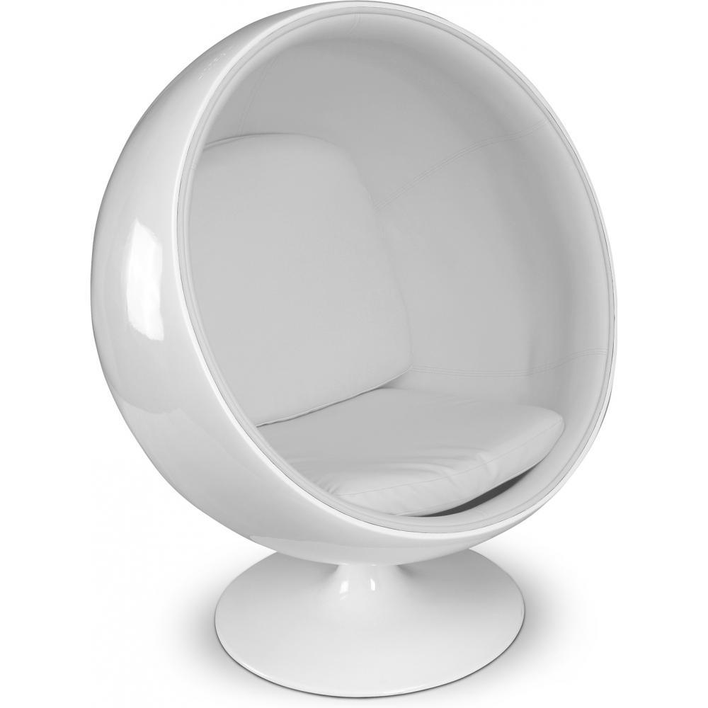 Fauteuil fibre de verre blanc int rieur simili blanc fonc ballon lestendan - Fauteuil ballon de foot ...
