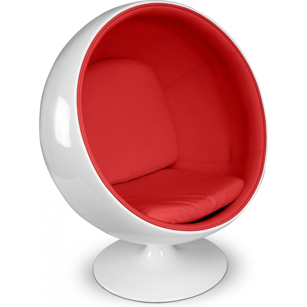 Fauteuil fibre de verre blanc int rieur simili rouge ballon - Fauteuil ballon de foot ...