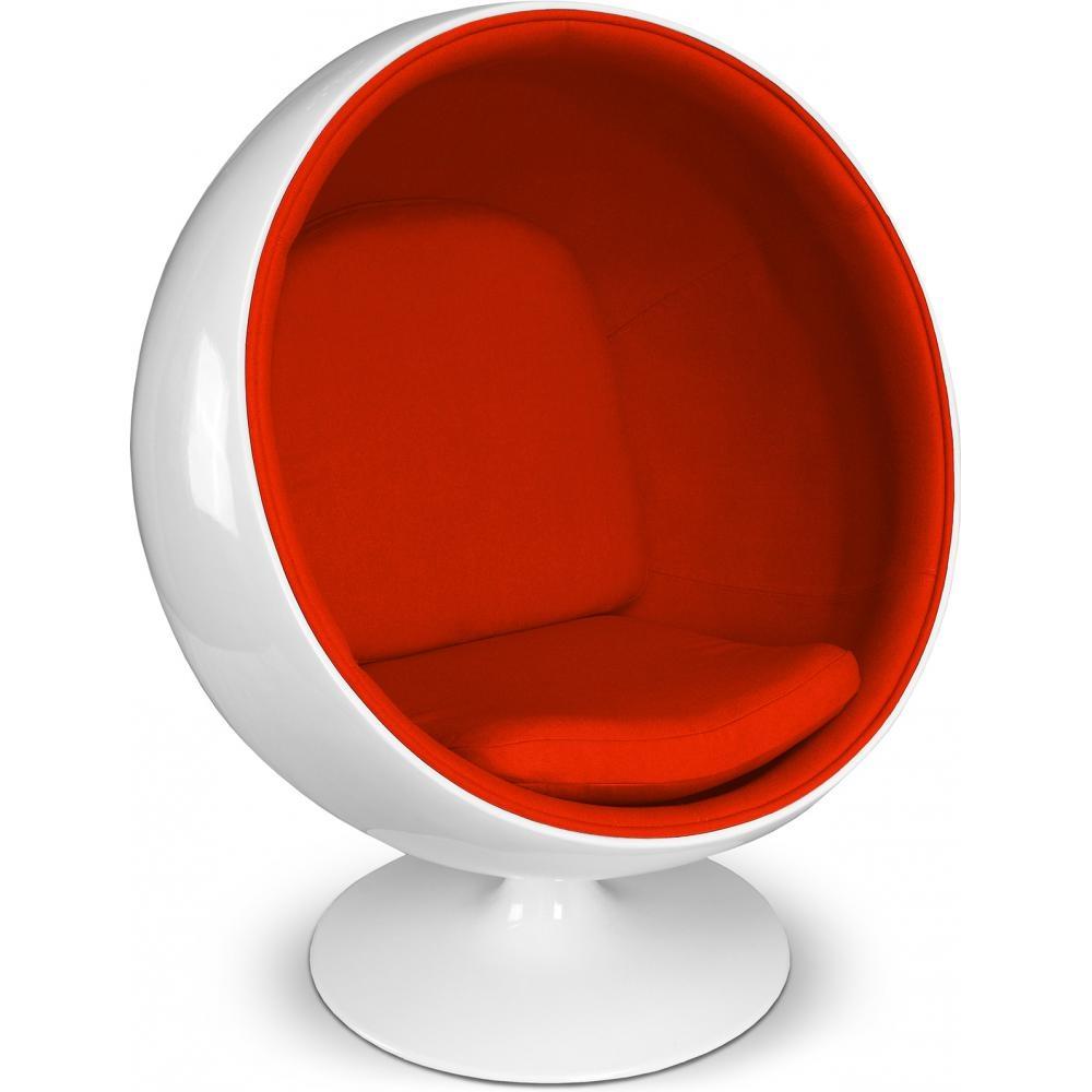 fauteuil fibre de verre blanc int rieur tissu orange. Black Bedroom Furniture Sets. Home Design Ideas