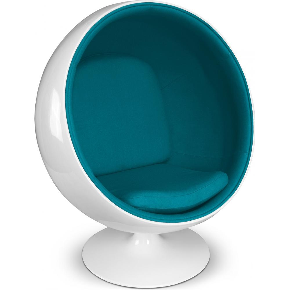 fauteuil fibre de verre blanc int rieur tissu turquoise ballon. Black Bedroom Furniture Sets. Home Design Ideas