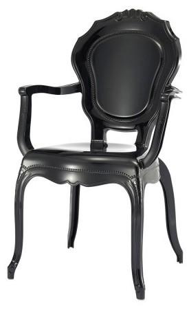 fauteuil baroque polycarbonate noir louis xiv lot de 4. Black Bedroom Furniture Sets. Home Design Ideas