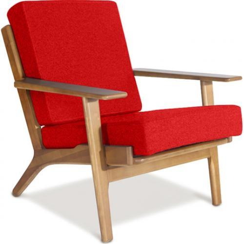 Fauteuil bois et tissu rouge buton - Fauteuil bois et tissu ...