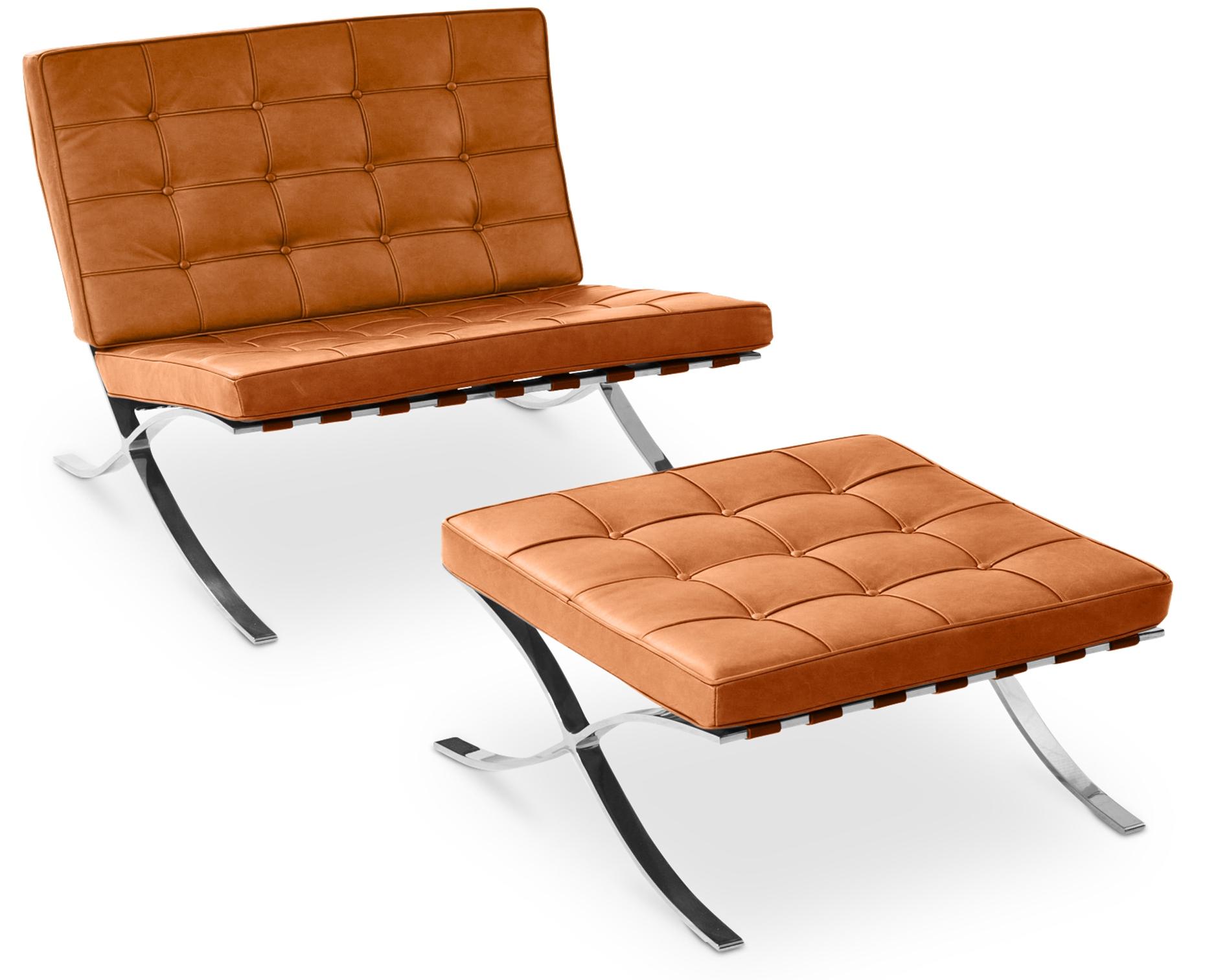 fauteuil avec ottoman capitonn cuir camel cubik. Black Bedroom Furniture Sets. Home Design Ideas