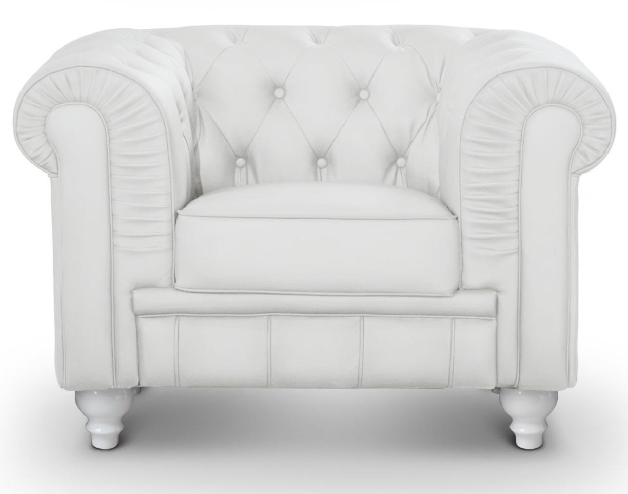 fauteuil chesterfield imitation cuir blanc british. Black Bedroom Furniture Sets. Home Design Ideas