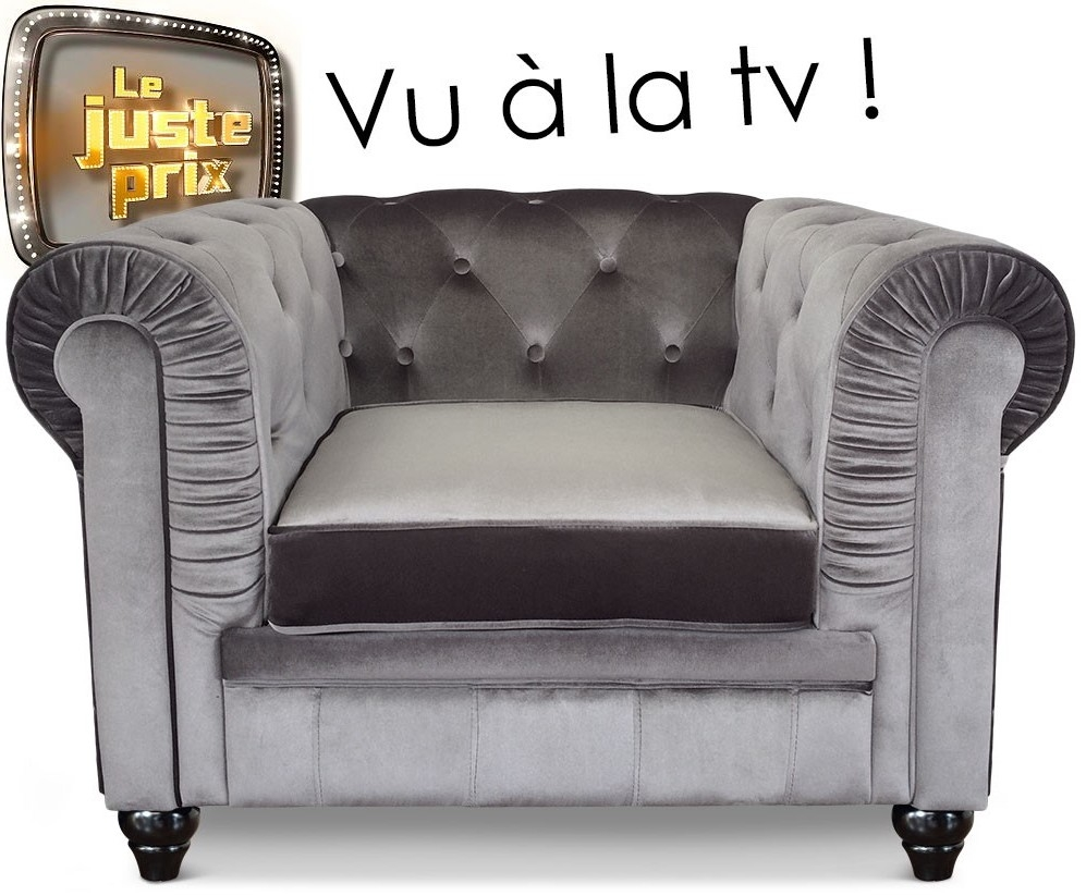 fauteuil chesterfield velours argent british. Black Bedroom Furniture Sets. Home Design Ideas