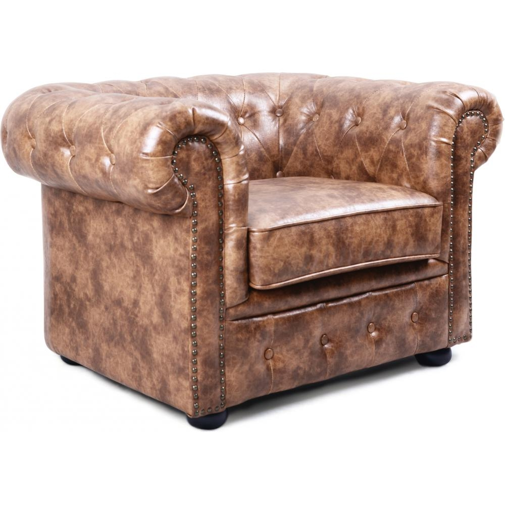 fauteuil chesterfield cuir marron clair vintage. Black Bedroom Furniture Sets. Home Design Ideas