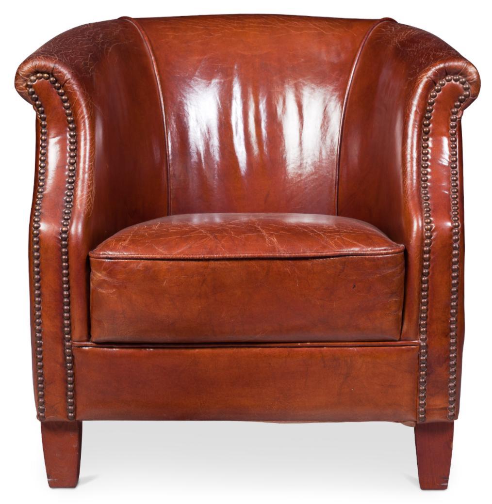 fauteuil club cuir marron clair klane. Black Bedroom Furniture Sets. Home Design Ideas