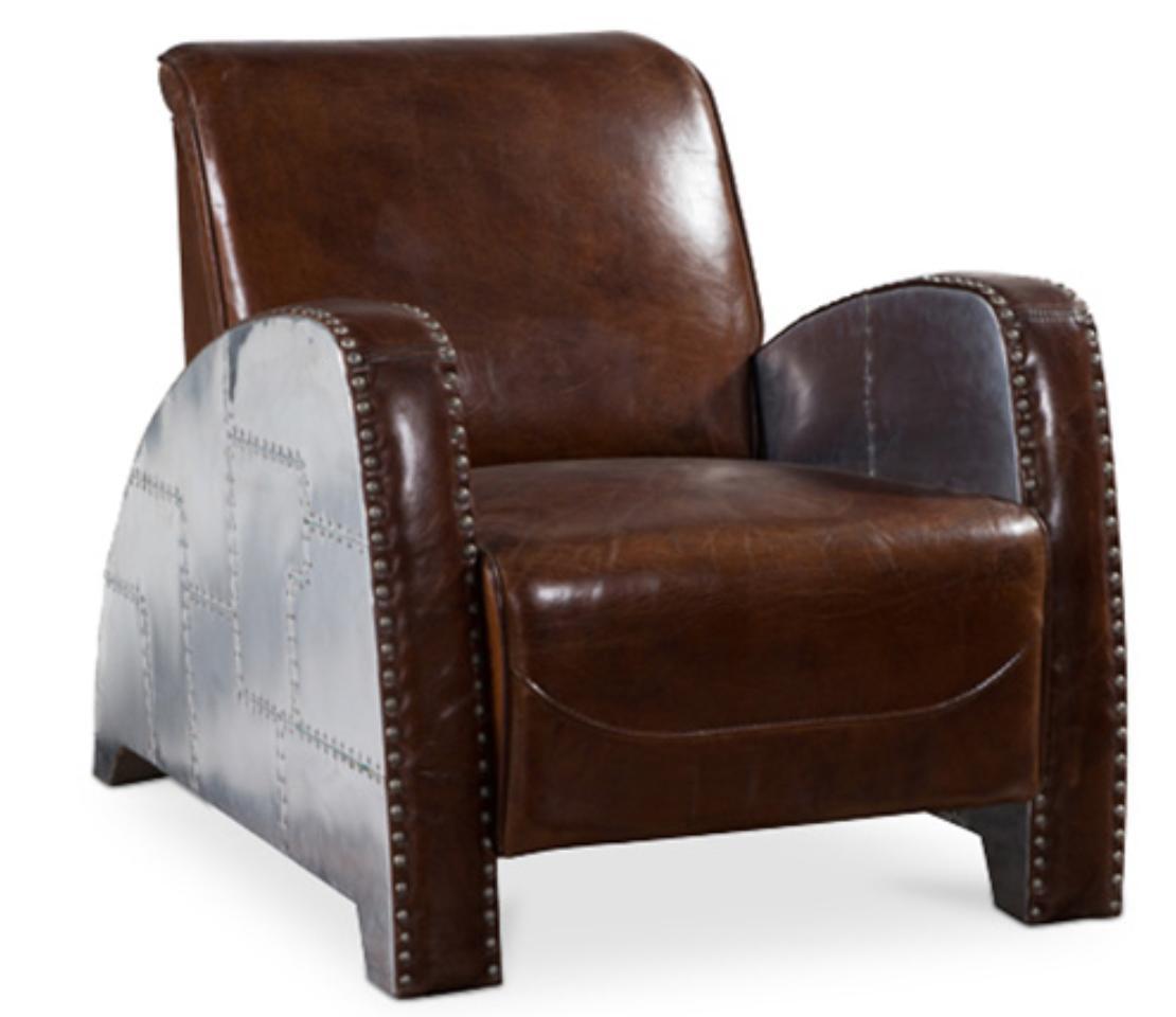 fauteuil club cuir marron et aluminium saloon. Black Bedroom Furniture Sets. Home Design Ideas