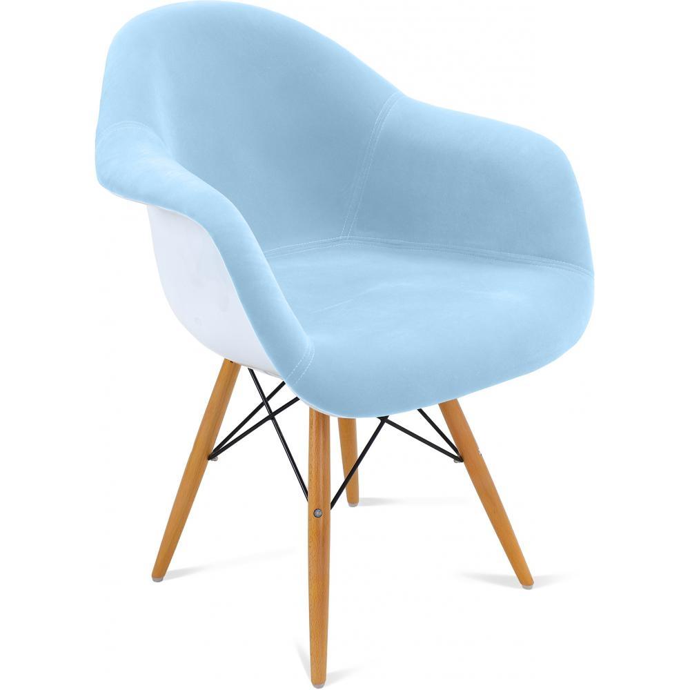 fauteuil coque polypropyl ne blanche assise tissu bleu ciel inspir daw. Black Bedroom Furniture Sets. Home Design Ideas
