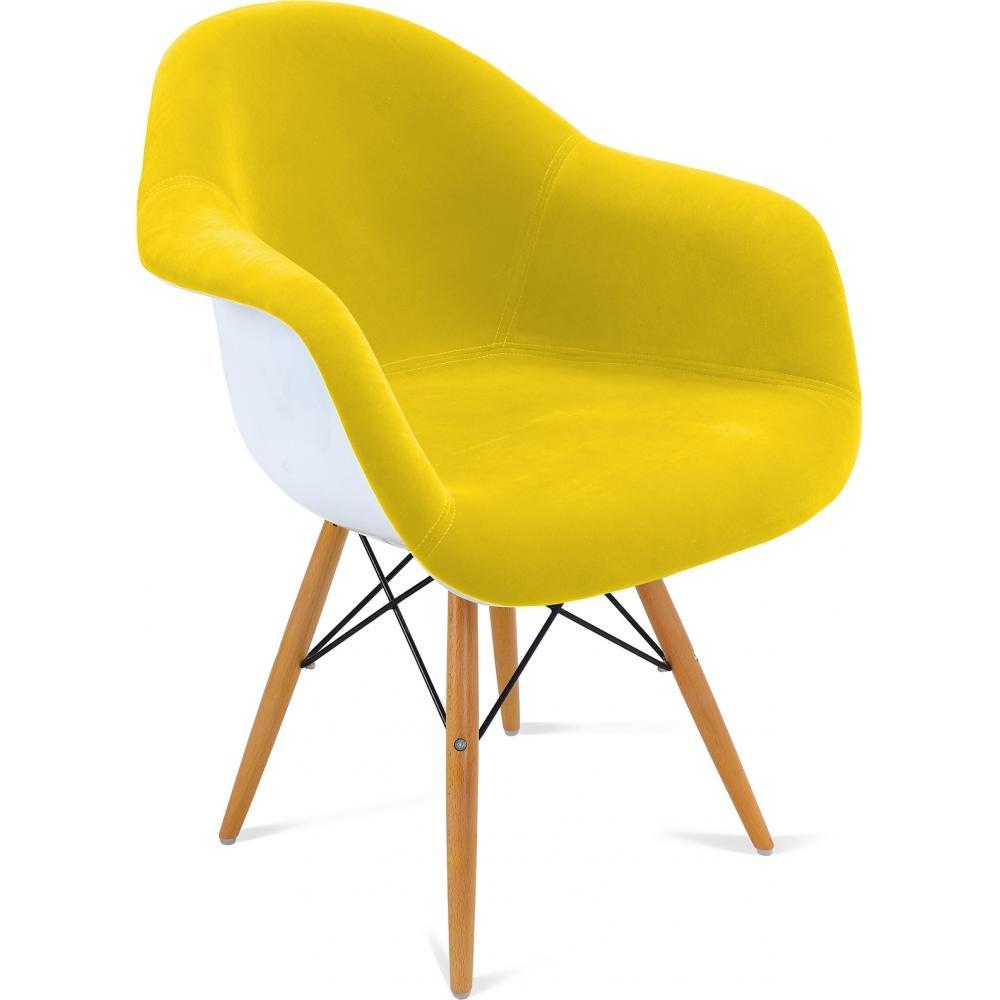 Fauteuil coque polypropyl ne blanche assise tissu jaune for Fauteuil eames tissu