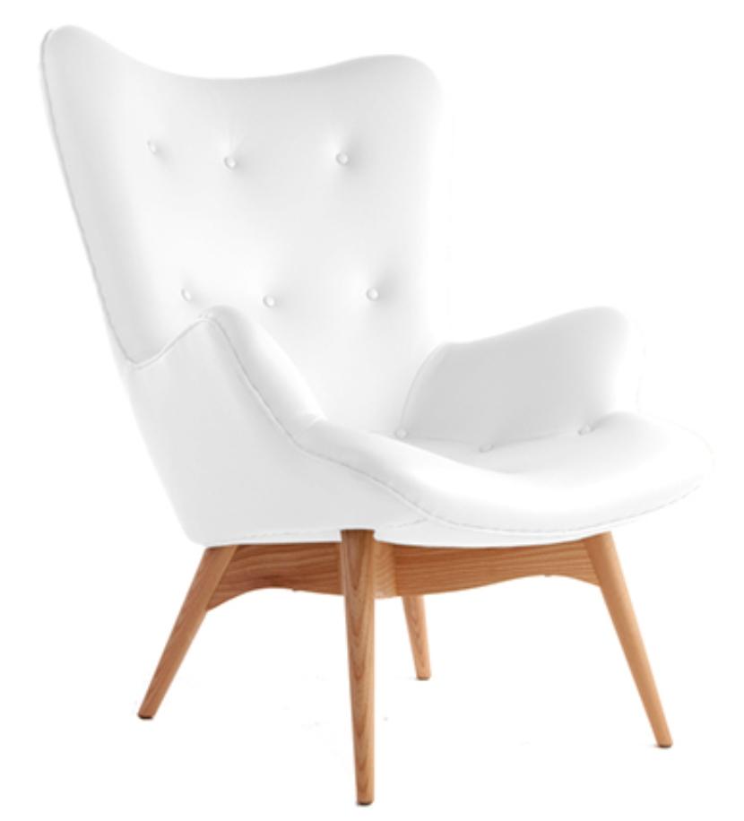 fauteuil cuir blanc campeur. Black Bedroom Furniture Sets. Home Design Ideas
