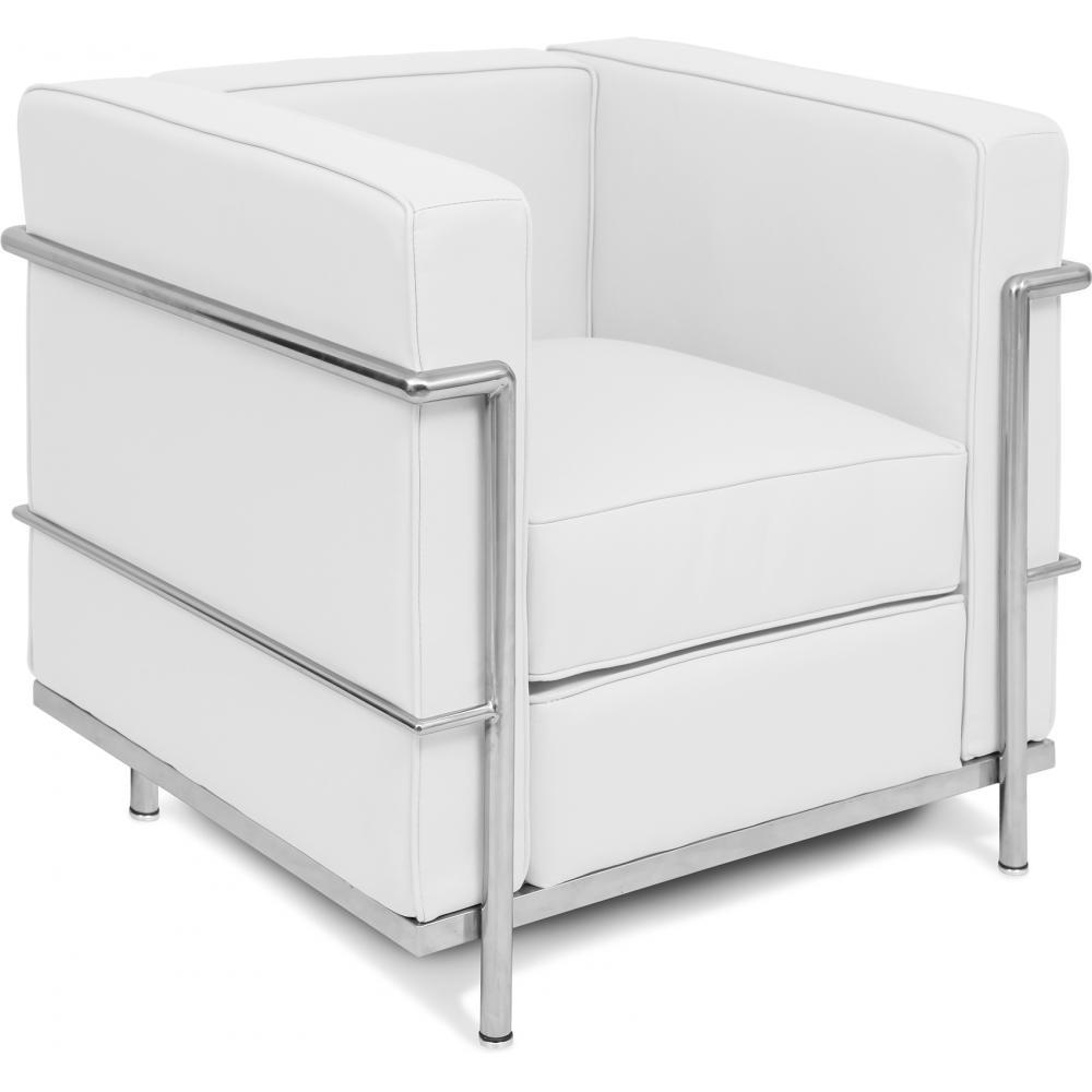 fauteuil cuir blanc inspir lc2 le corbusier. Black Bedroom Furniture Sets. Home Design Ideas