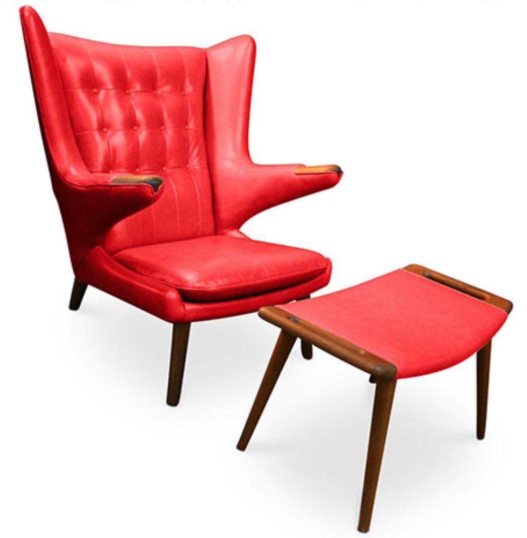 fauteuil cuir rouge avec ottoman style papa bear. Black Bedroom Furniture Sets. Home Design Ideas