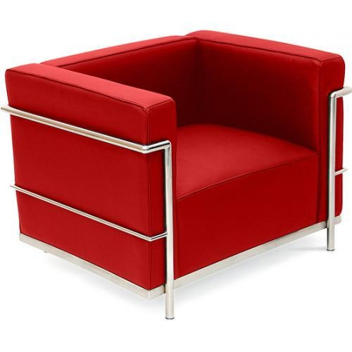 fauteuil cuir rouge inspir lc3 le corbusier. Black Bedroom Furniture Sets. Home Design Ideas