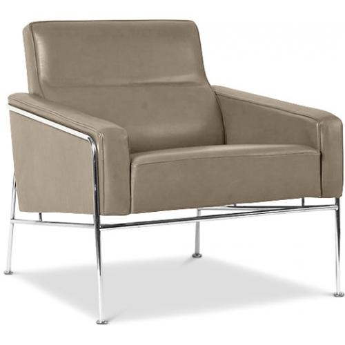 Fauteuil moderne cuir taupe Hidy
