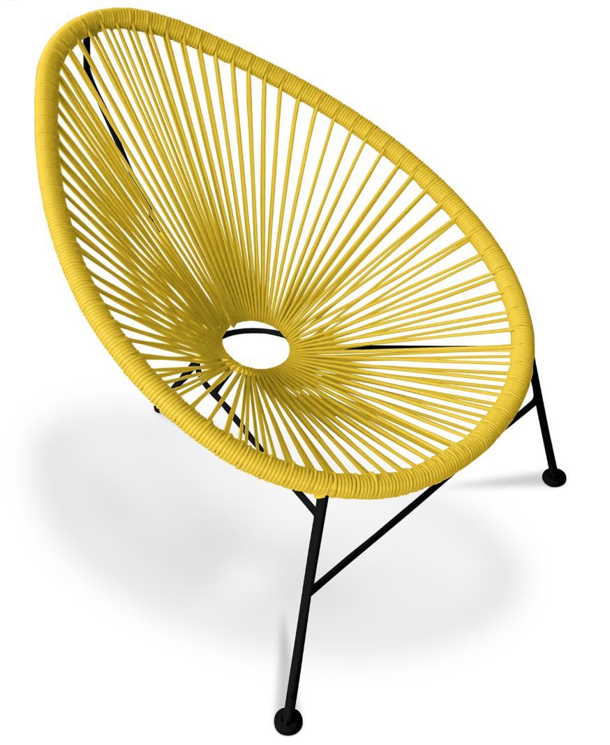 fauteuil de jardin rotin synth tique jaune et pieds acier noir acapulco. Black Bedroom Furniture Sets. Home Design Ideas