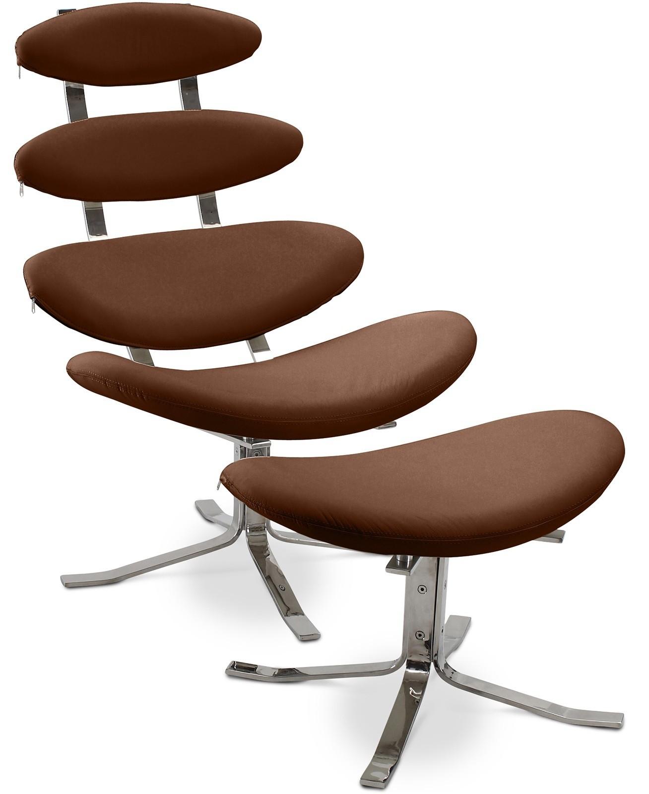 fauteuil de relaxation avec ottoman cuir chocolat inspir corona. Black Bedroom Furniture Sets. Home Design Ideas