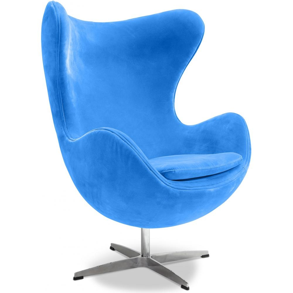 fauteuil egg chair tissu bleu. Black Bedroom Furniture Sets. Home Design Ideas