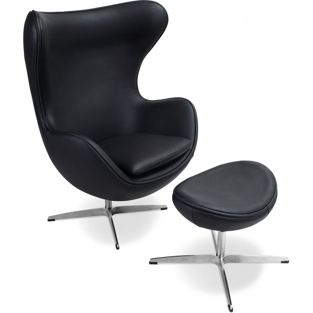 fauteuil egg noir cuir avec repose pieds. Black Bedroom Furniture Sets. Home Design Ideas