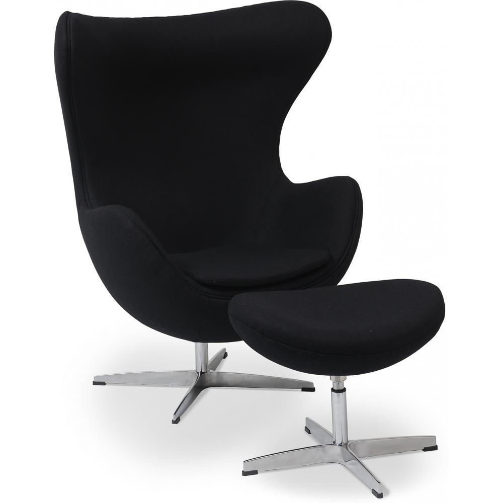 fauteuil egg noir tissu avec repose pieds. Black Bedroom Furniture Sets. Home Design Ideas