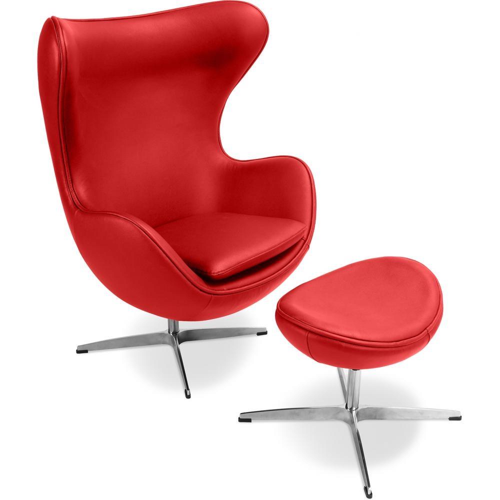 fauteuil egg rouge cuir avec repose pieds. Black Bedroom Furniture Sets. Home Design Ideas