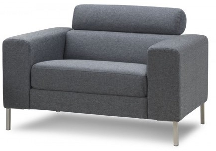 fauteuil fixe tissu gris pure style. Black Bedroom Furniture Sets. Home Design Ideas