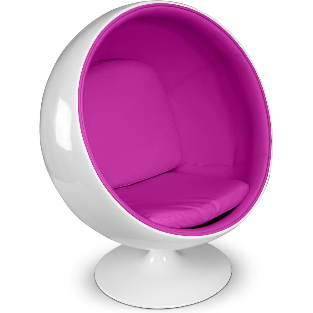 fauteuil fibre de verre blanc int rieur simili fuchsia ballon. Black Bedroom Furniture Sets. Home Design Ideas