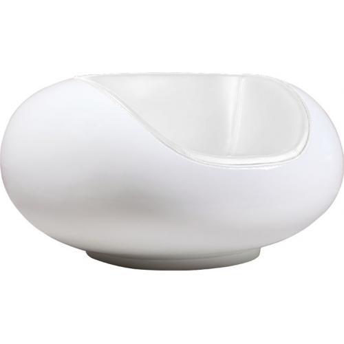 fauteuil fibre de verre et simili blanc brillant inspir eero aario. Black Bedroom Furniture Sets. Home Design Ideas