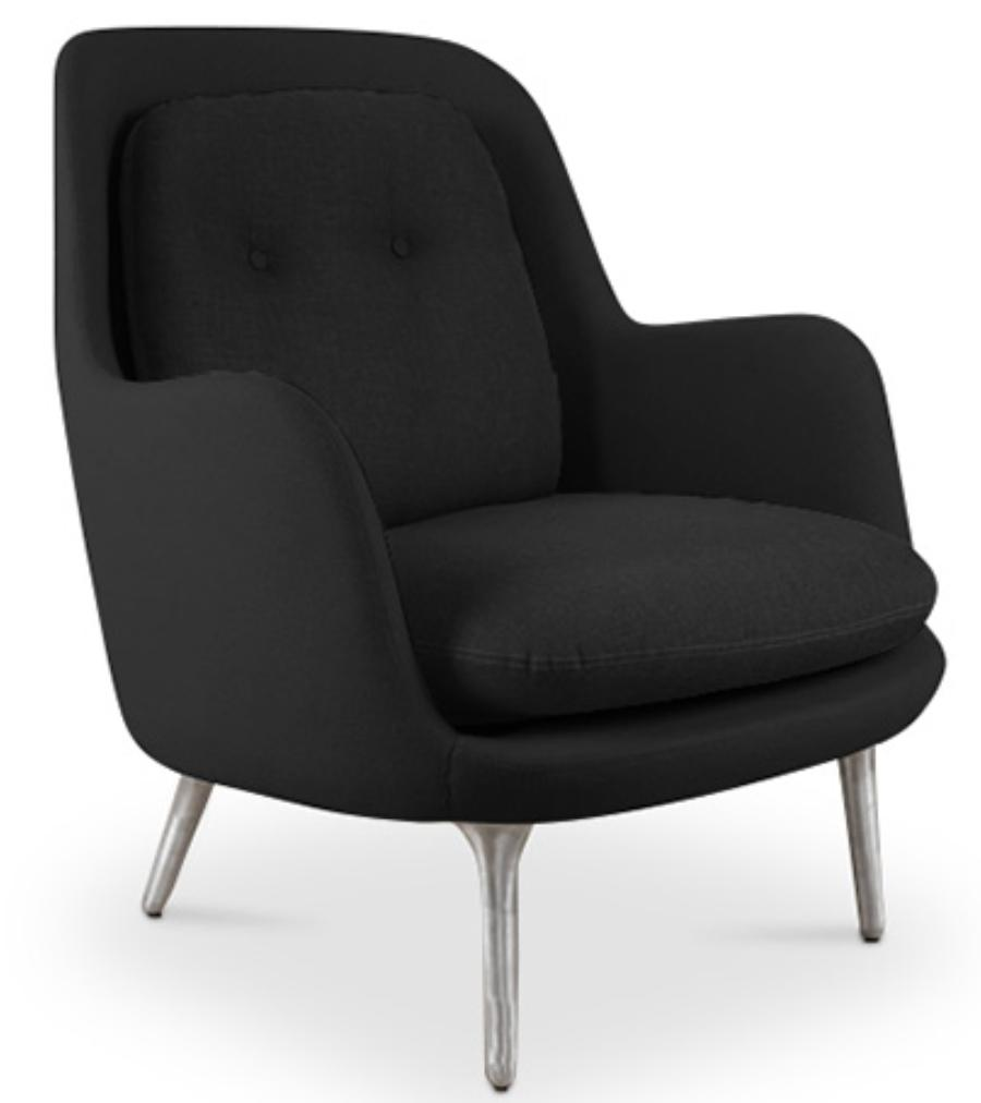 fauteuil fibre de verre et tissu lin noir kubize. Black Bedroom Furniture Sets. Home Design Ideas