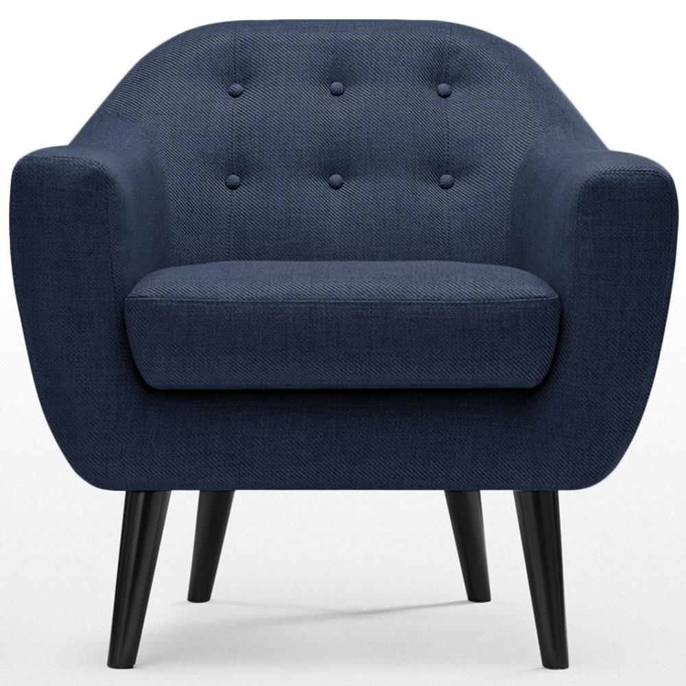 Fauteuil cosy tissu bleu for Fauteuil salon bleu