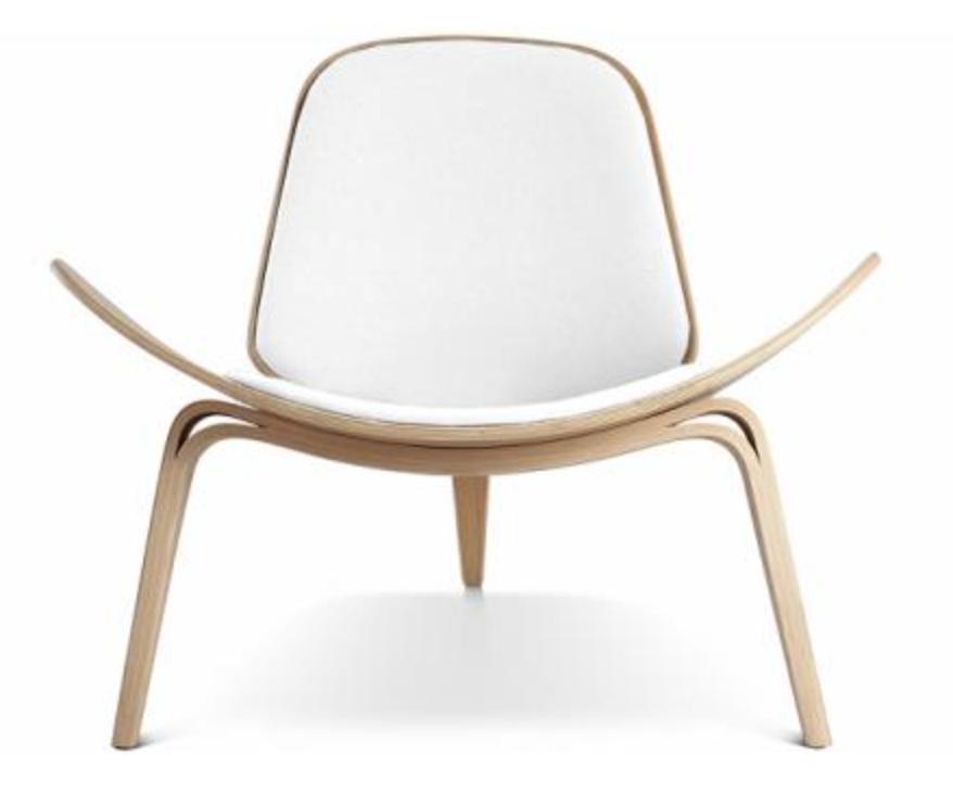Fauteuil forme arrondie bois assise tissu blanc for Fauteuil bois blanc