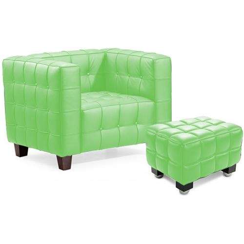 fauteuil capitonn avec ottoman simili vert master. Black Bedroom Furniture Sets. Home Design Ideas