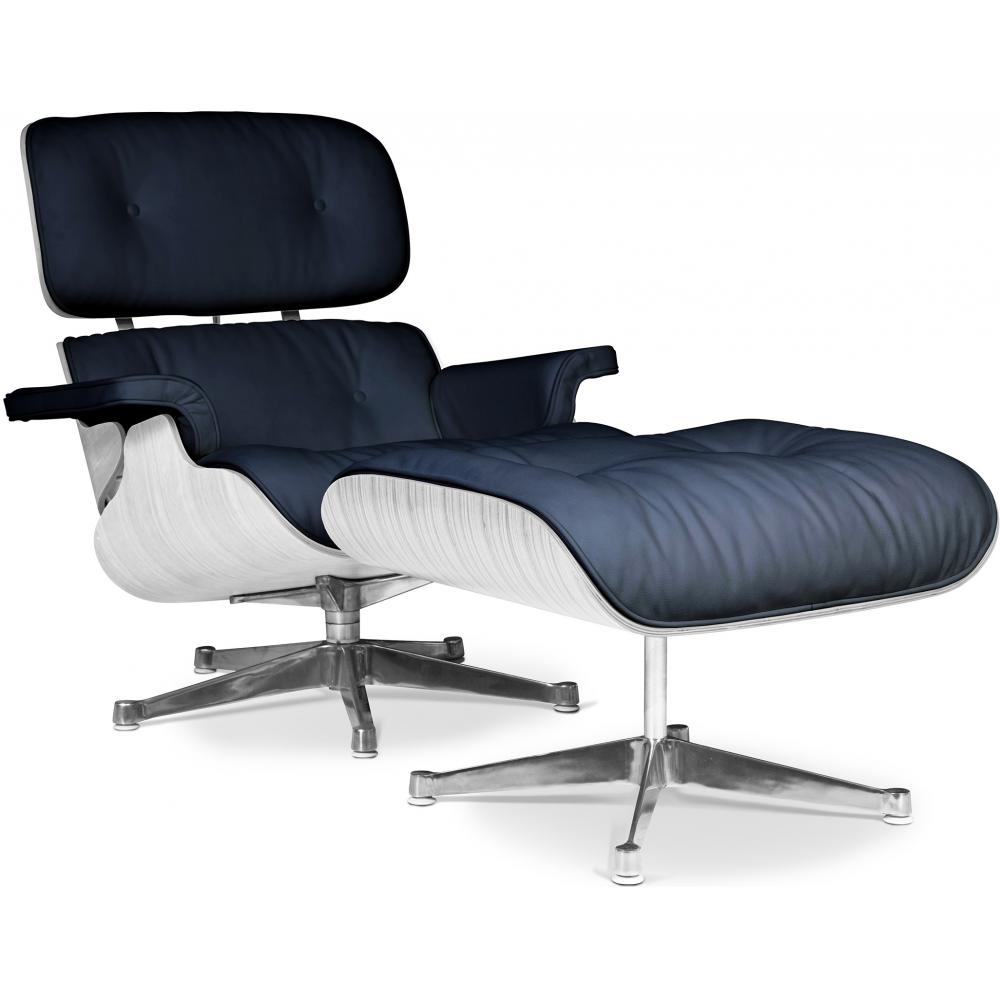fauteuil lounge bois blanc et cuir noir inspir charles eames. Black Bedroom Furniture Sets. Home Design Ideas