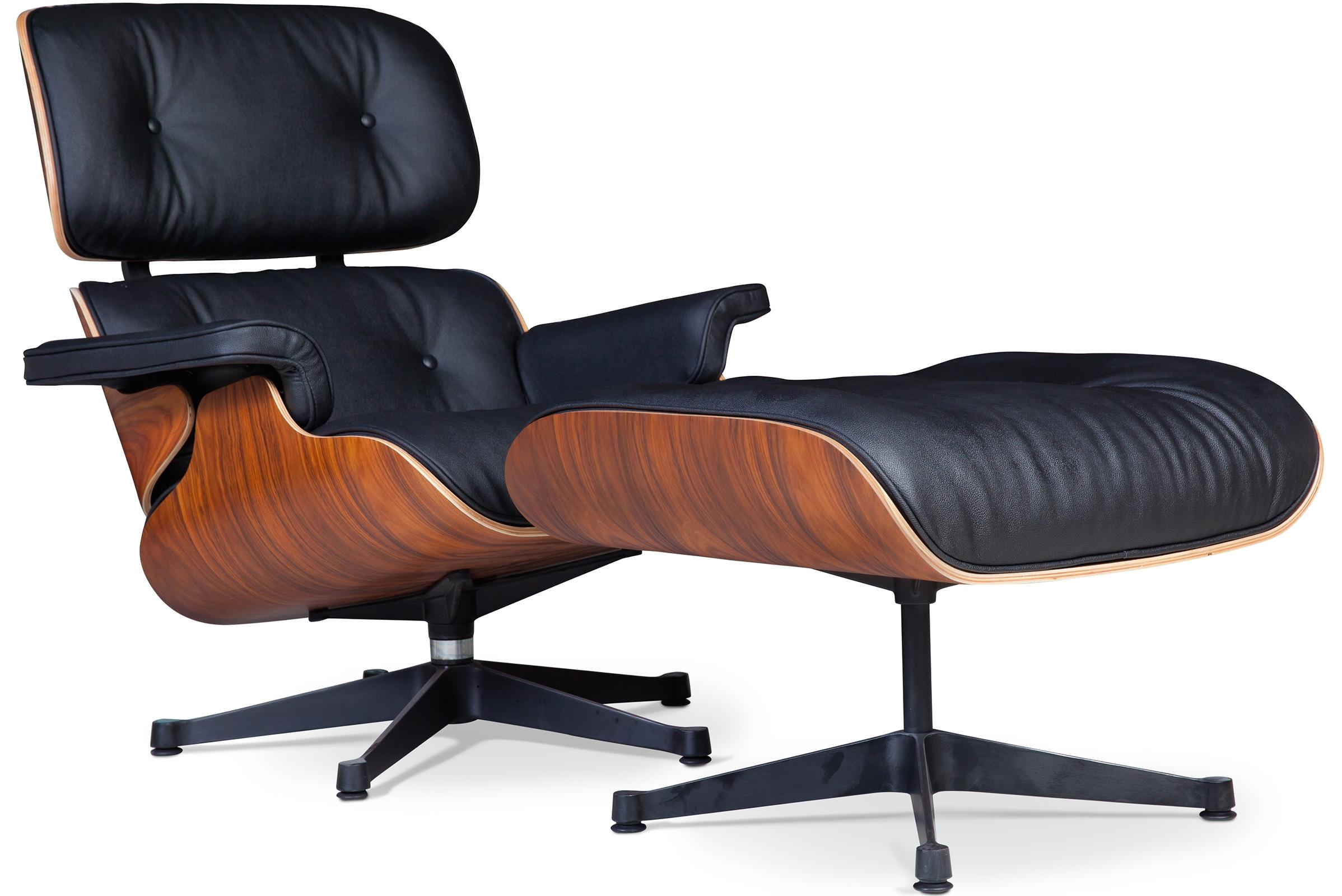fauteuil lounge bois de rose et cuir noir inspir charles