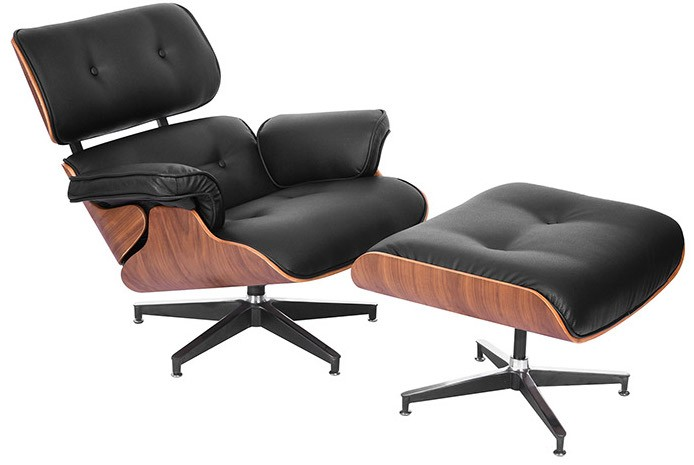 fauteuil lounge bois fonc et simili noir inspir charles eames. Black Bedroom Furniture Sets. Home Design Ideas