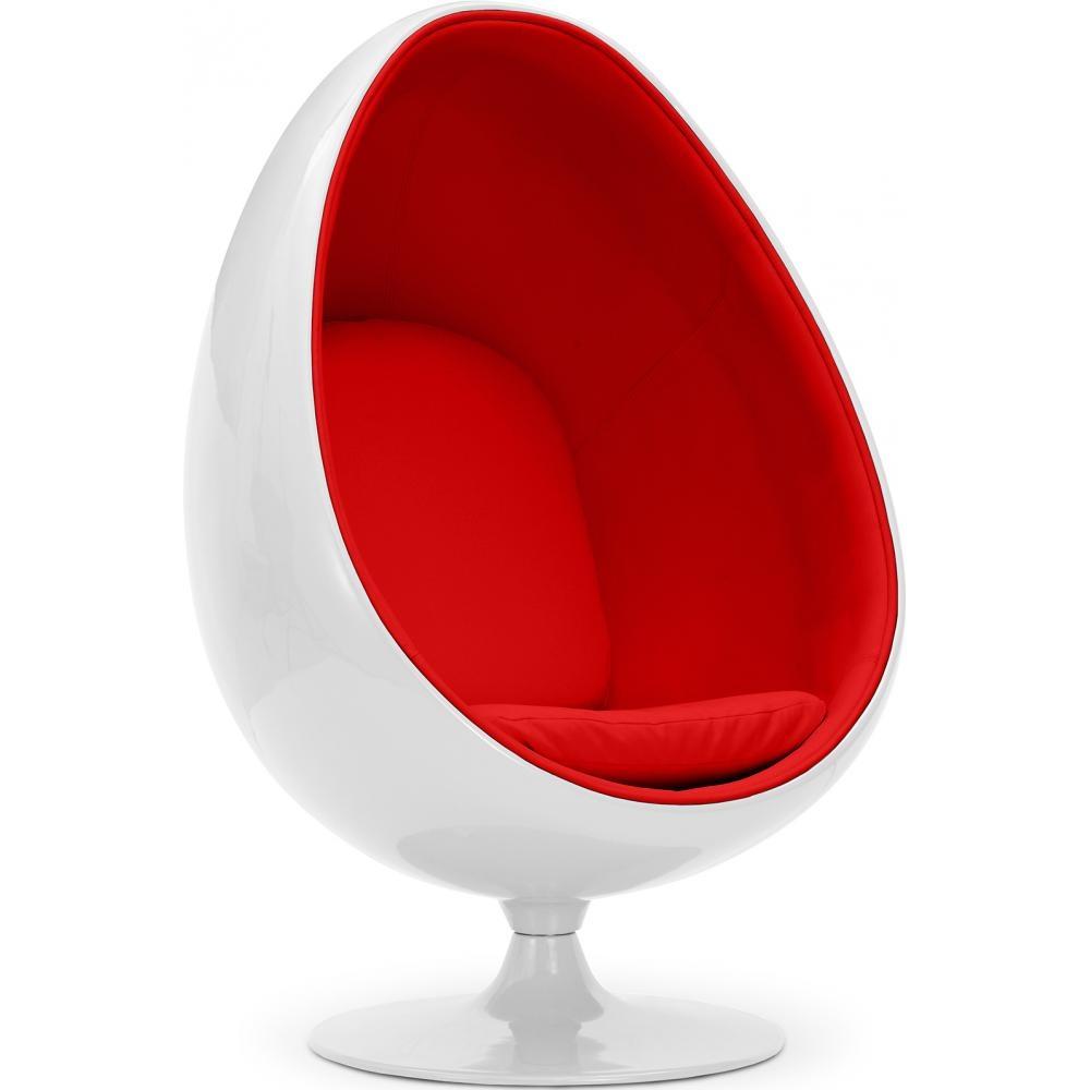 Fauteuil oeuf blanc simili rouge inspiré aeero lestendances fr