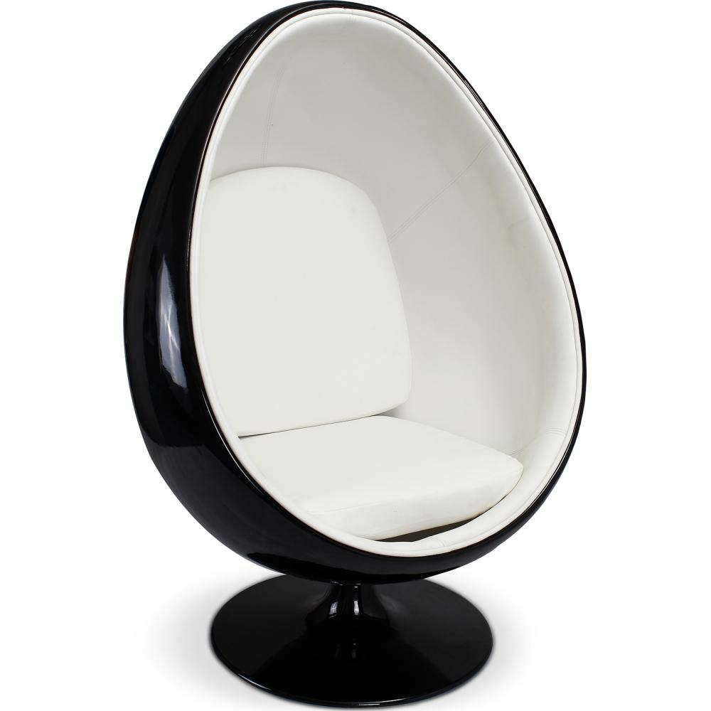 fauteuil oeuf noir inspir armchair int rieur simili blanc. Black Bedroom Furniture Sets. Home Design Ideas