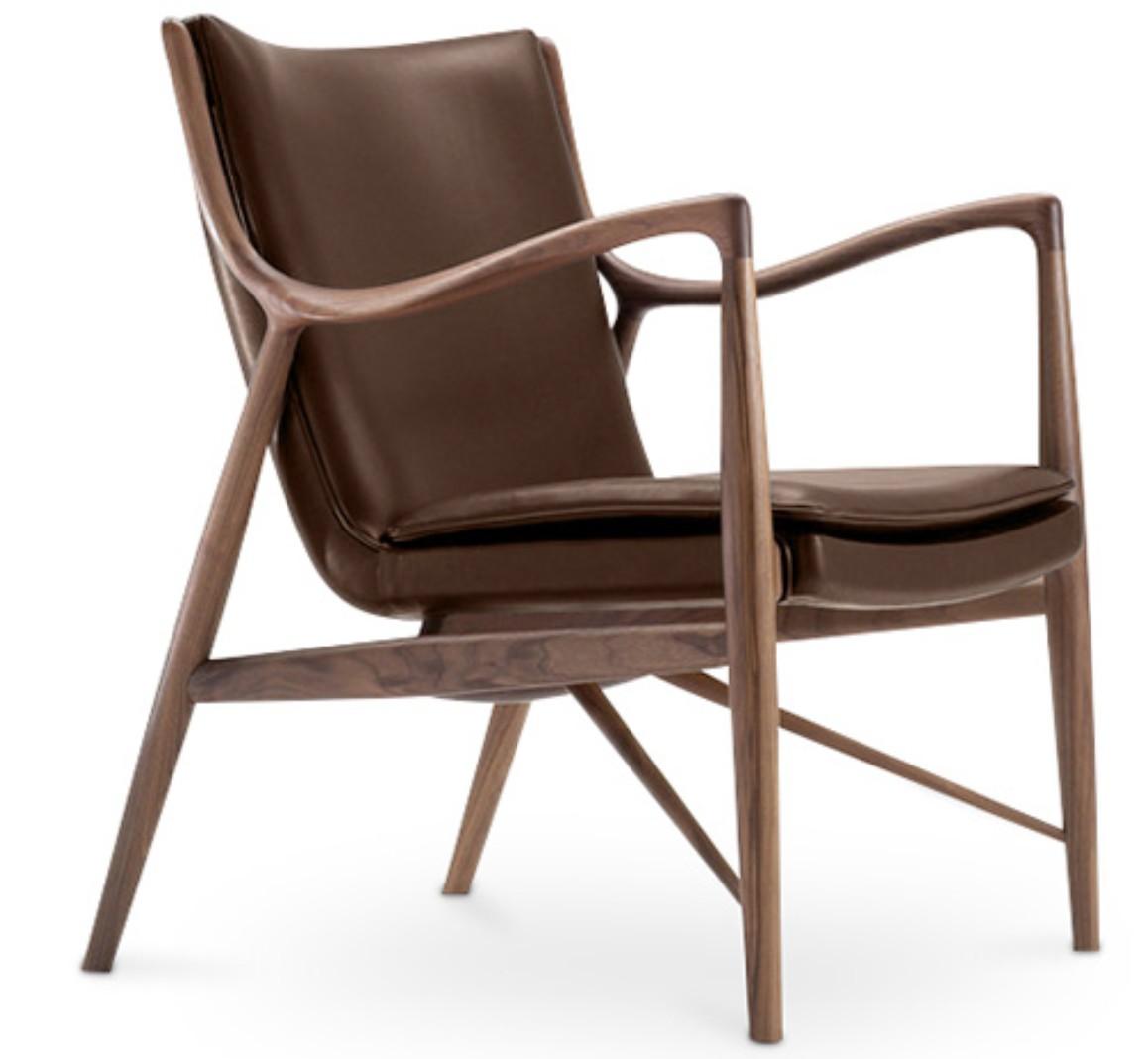 fauteuil original bois et cuir marron fonc inspir finn. Black Bedroom Furniture Sets. Home Design Ideas