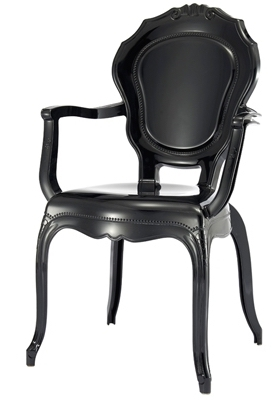 fauteuil polycarbonate noir style louis xiv. Black Bedroom Furniture Sets. Home Design Ideas