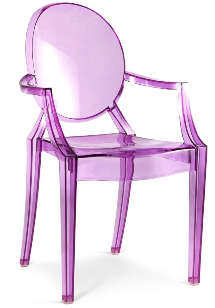 Fauteuil polycarbonate transparent violet inspir louis ghost - Fauteuil polycarbonate transparent ...