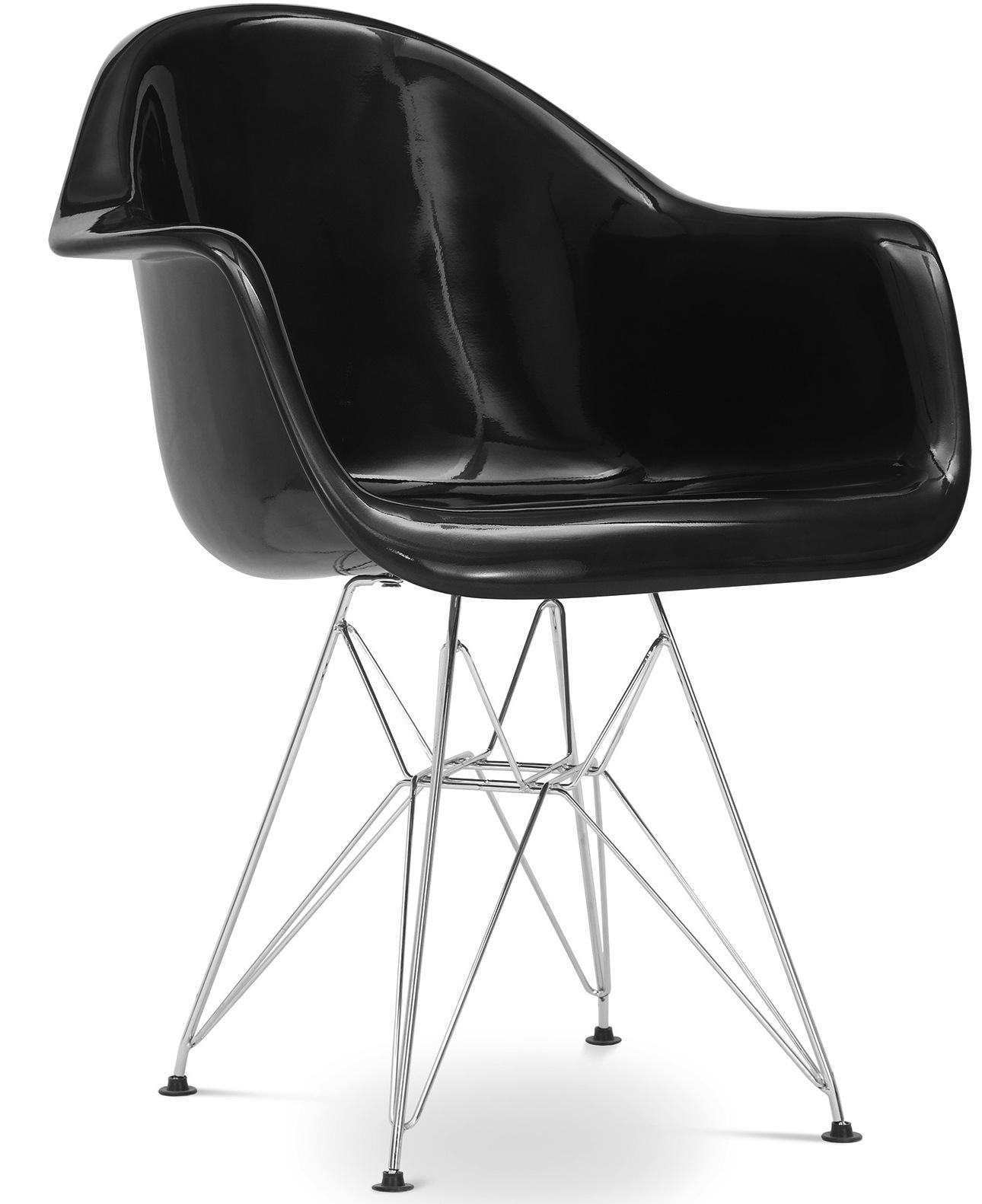 fauteuil polypropyl ne noire inspir e eiffel charles eames. Black Bedroom Furniture Sets. Home Design Ideas