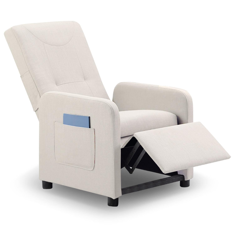 fauteuil relax pliable tissu beige kreka. Black Bedroom Furniture Sets. Home Design Ideas