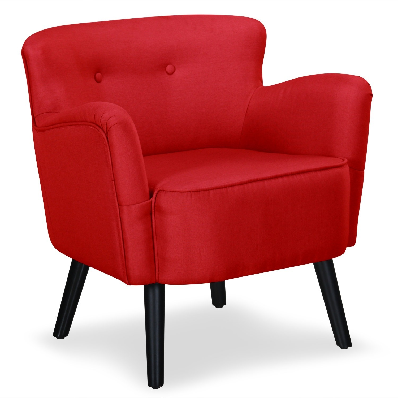 fauteuil confortable tissu rouge pauka. Black Bedroom Furniture Sets. Home Design Ideas