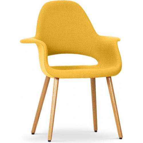 Fauteuil scandinave assise tissu jaune for Chaise jaune design