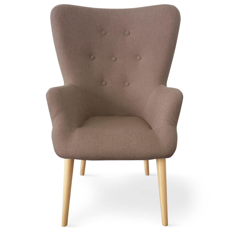 fauteuil haut dossier tissu taupe praira. Black Bedroom Furniture Sets. Home Design Ideas