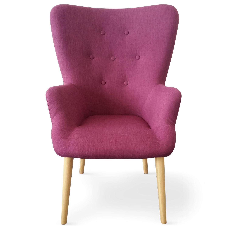 fauteuil haut dossier tissu violet praira. Black Bedroom Furniture Sets. Home Design Ideas