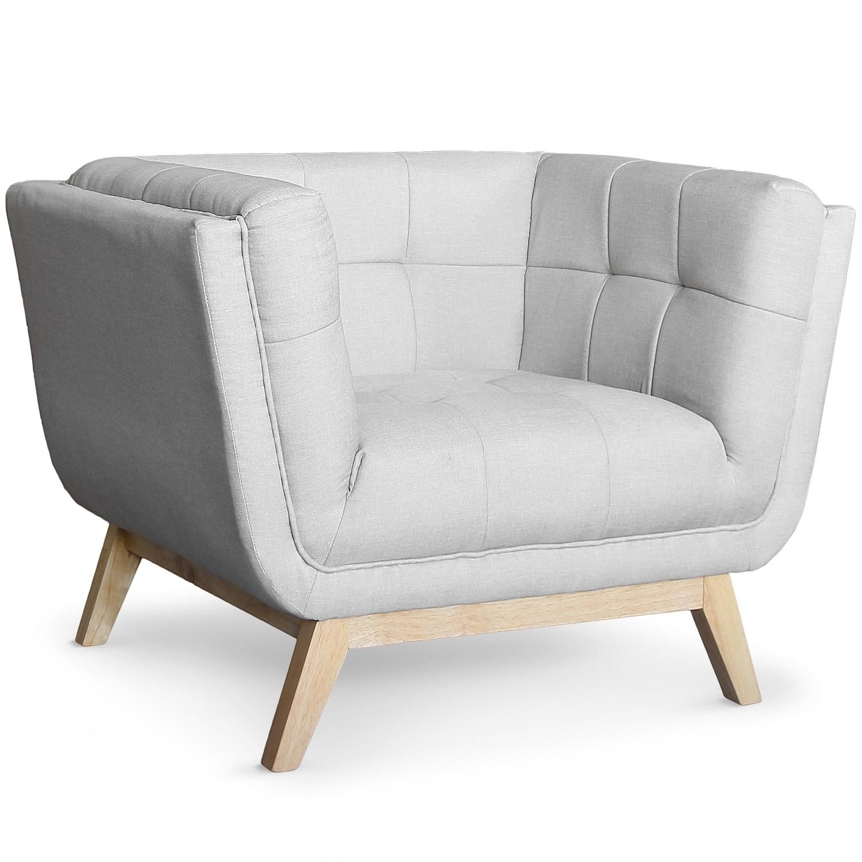 fauteuil scandinave tissu gris koza. Black Bedroom Furniture Sets. Home Design Ideas